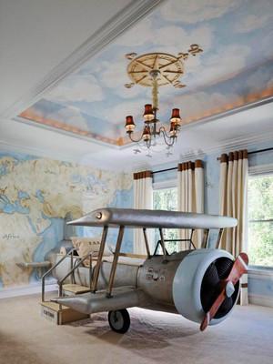 简约风格时尚创意飞机模型儿童房装修效果图赏析