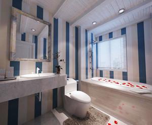 地中海风格大户型蓝白色卫生间装修效果图