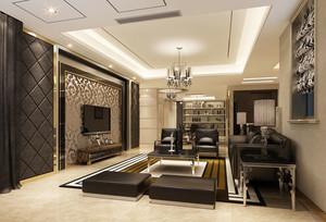 简欧风格精致大户型客厅电视背景墙装修效果图赏析