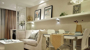 59平米现代简约风格文艺小户型一居室装修效果图
