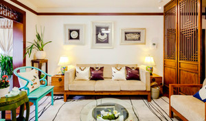 中式风格精致典雅客厅隔断设计装修效果图