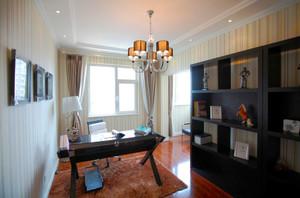 美式风格大户型室内精致书房设计装修效果图
