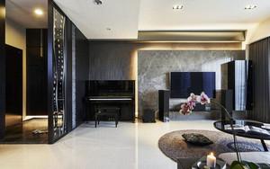 现代风格大户型黑色系客厅设计装修效果图赏析