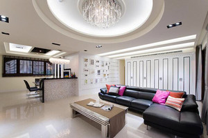 新古典主义风格浅色精装三室两厅室内装修效果图案例