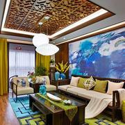 中式风格大户型精致客厅背景墙装修效果图赏析