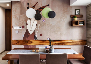 现代风格时尚创意餐厅背景墙装修效果图赏析