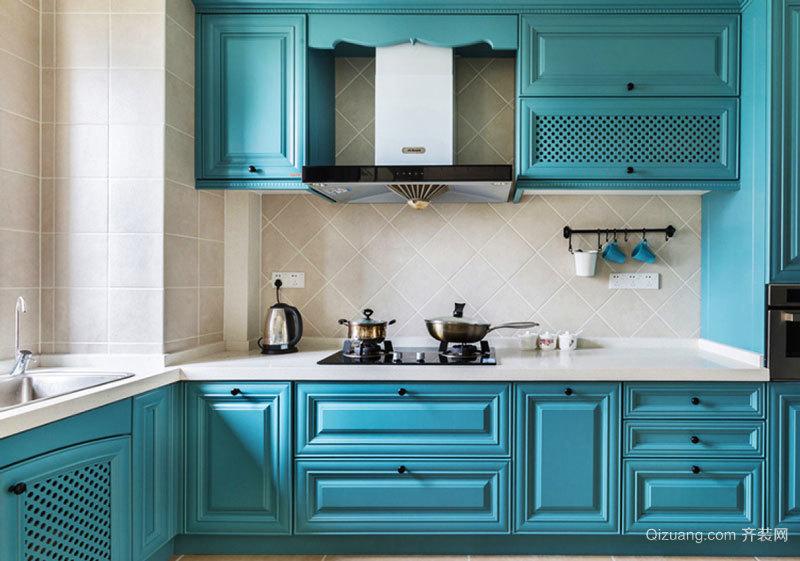 地中海风格清新蓝色整体厨房装修效果图赏析