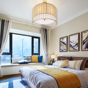 新中式风格精致典雅卧室飘窗设计装修效果图鉴赏