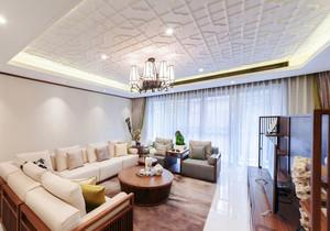 中式风格简约浅色客厅吊顶设计装修效果图赏析