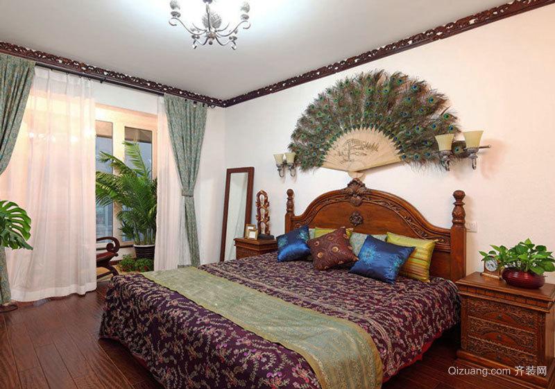 东南亚风格精致卧室背景墙装修效果图