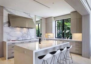 现代风格精致大理石开放式厨房吧台装修效果图