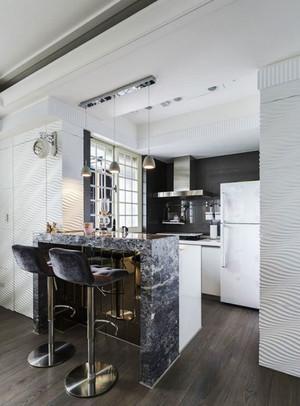 现代风格中性冷色调小户型开放式厨房吧台装修效果图