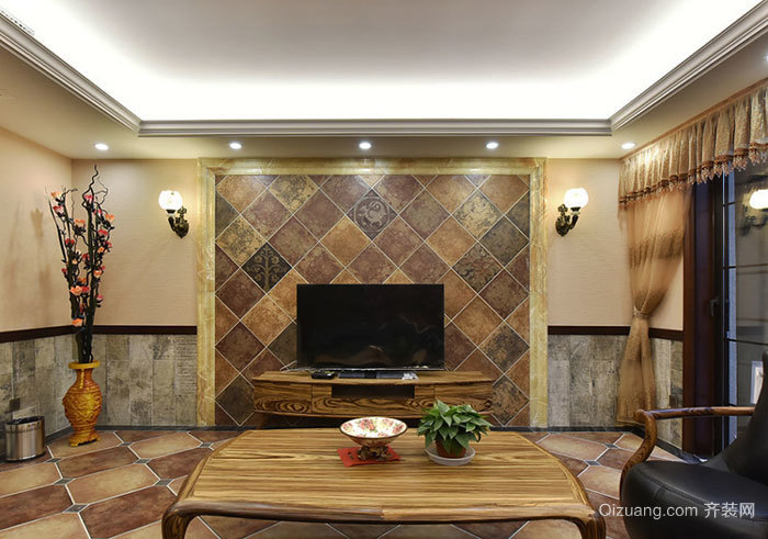 复古风格大户型精致客厅电视背景墙装修效果图赏析