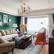 清新美式风格精美客厅背景墙装修效果图赏析