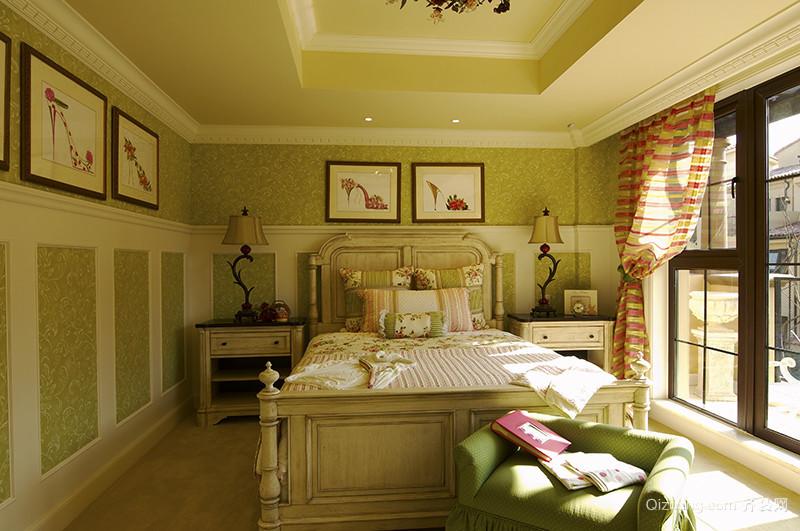 269平米欧式田园风格清新别墅室内装修效果图案例