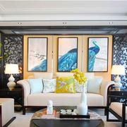 中式风格典雅精致客厅背景墙装修效果图欣赏