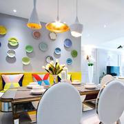 清新风格时尚创意餐厅背景墙装修效果图赏析
