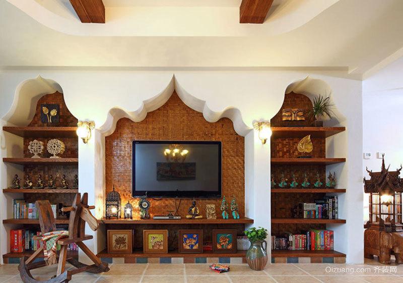 东南亚风格精致别墅客厅电视背景墙装修效果图赏析