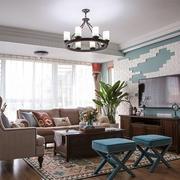 美式风格大户型精致客厅电视背景墙装修效果图赏析