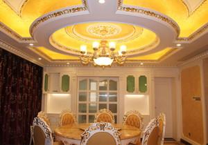 欧式风格大户型精致奢侈餐厅吊顶设计装修效果图