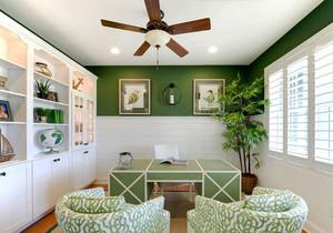 12平米清新风格自然轻松书房设计装修效果图