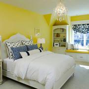 清新风格明亮黄色卧室飘窗设计装修效果图赏析