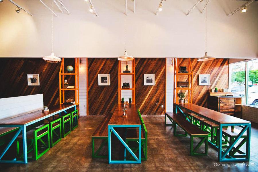 60平米后现代风格创意快餐店装修效果图
