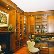 复古美式风格别墅书房设计装修效果图案例