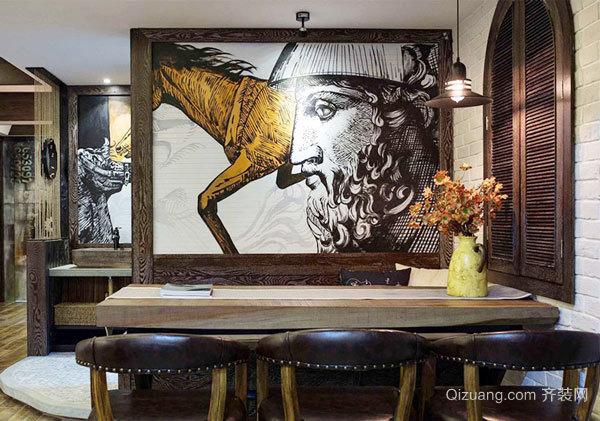 美式乡村风格大户型创意餐厅背景墙装修效果图赏析