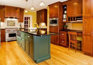 美式风格古朴别墅整体厨房设计装修效果图案例