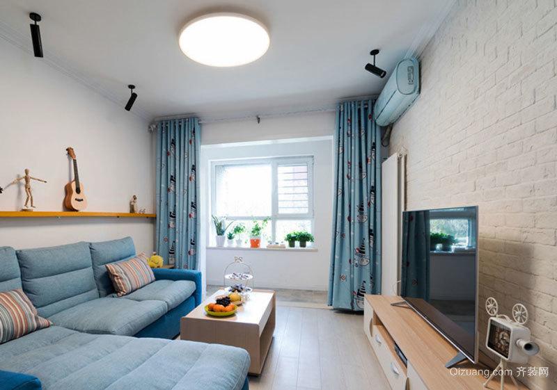 清新风格浅蓝色客厅设计装修效果图欣赏