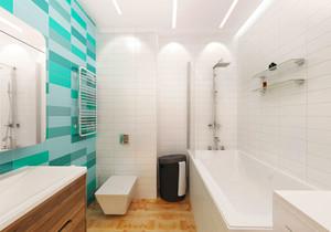 清新浅绿色卫生间设计装修效果图