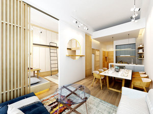 64平米日式风格简约公寓装修效果图案例