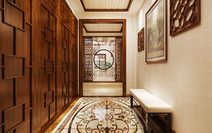中式风格大户型精致玄关设计装修效果图案例