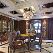 美式风格别墅室内精致餐厅吊顶设计装修效果图