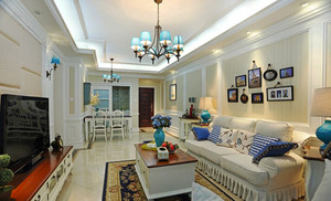 106平米田园风格温馨两室两厅室内装修效果图案例