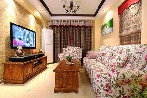87平米美式田园风格两室两厅室内装修效果图案例