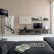 现代风格灰色系客厅电视背景墙装修效果图赏析