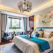 中式风格雅致卧室背景墙装修效果图案例