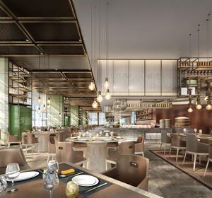 160平米后现代简约风格西餐厅装修效果图赏析