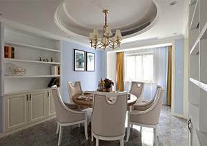 欧式风格温馨浅色餐厅圆形吊顶设计装修效果图