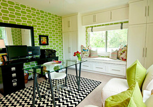 清新风格薄荷绿书房飘窗设计装修效果图欣赏