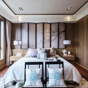 中式风格精美主卧室背景墙装修效果图赏析