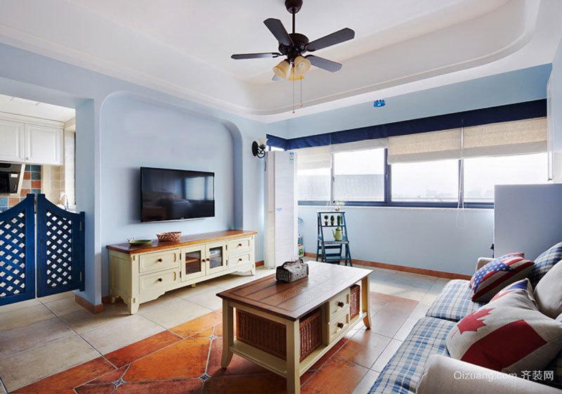 地中海风格两居室清新客厅设计装修效果图赏析