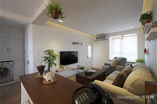 90平米简约美式风格温馨室内装修效果图案例