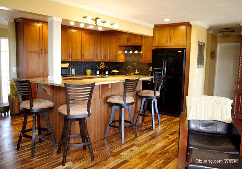 美式乡村风格大户型精致开放式厨房吧台装修效果图