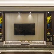 新中式风格大理石客厅电视背景墙装修效果图赏析