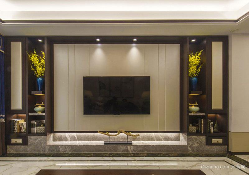 新中式風格大理石客廳電視背景墻裝修效果圖賞析