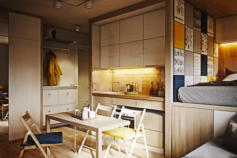 43平米现代简约原木风单身公寓装修效果图