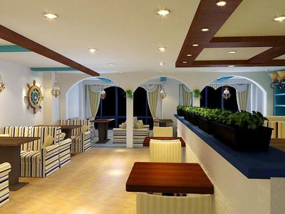 地中海风格时尚西餐厅设计装修效果图